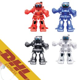 Wholesale Remote Controlled Robot For Kids - HappyCow 777-320 2.4G Mini RC Battle Robot 18pcs lot Radio Remote Control Droid Fighting Boxing Robots 4 Colors Toys for Kids