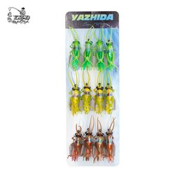 Wholesale Insect Baits - Grasshopper Flies Dry Fly Fishing Flies 12Pcs Insect Baits Fishing Lure Carp Trout Muskie Fly Tying Material Flyfishing with Hook