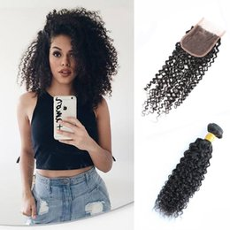 Wholesale Indian Jerry - Brazilian Kinky Curly Hair 3 Bundles with Closure Jerry Curly Virgin Hair with Lace closure Mongolian Peruvian Malaysian Raw Indian Hair