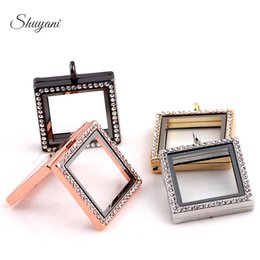 Wholesale Magnetic Shape Memory Alloys - Square Shape Openable Floating Locket 30mm Magnetic Memory Locket Pendant Mix 4 Colors 5pcs Free Shipping