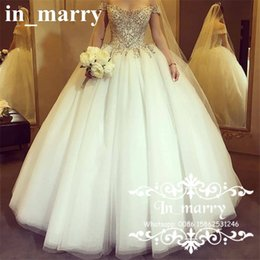 Wholesale Crystal Dropped Waist Bridal Gowns - Victorian Crystals Ball Gown Wedding Dresses 2017 Off Shoulder Drop Waist White Puffy Tulle Skirt Arabic Dubai Bridal Gowns Robe De Mariage