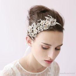 Wholesale Vintage Honey - 2017 Luxurious Twigs&Honey European style Bride Shinny Crystal Headbands Vintage 100% Real Images Bridal Hair Accessories Wedding Head Piece