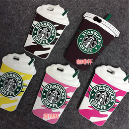 Wholesale 4g Cup - 3D Cartoon Silicon Case Starbucks Cover For iPhone 6 6S 7 Plus 6plus 5 5S 5C SE 4g 4S Coffee Cup Phone Cover