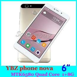 Wholesale Dual Core Nova - Real Fingerprint nova Quad Core MTK6580 6 Inch Mobile Phones 3G Android 6.0 HD Camera 5MP 1GB 8GB Dual SIM Super-Slim Smartphone