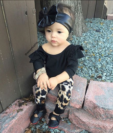 Wholesale Set Babys - ins Baby Girls Outfits and Sets Babys, Kids Clothes 2017 New Autumn Winter Long Sleeve Shirts T-shirt with Leopard Pants 2Sets YAN-255