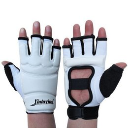 Wholesale Wtf Taekwondo - Taekwondo Gloves Fighting Hand Protector WTF Approved Martial Arts Sports Hand Guard PU Leather Fitness Boxing Gloves