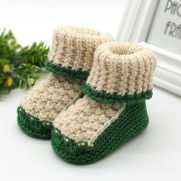 Wholesale Lace Crochet Baby Booties - Wholesale- Woolen Baby Shoes Infants Toddler Crochet Knit Fleece Boots Girl Boy Wool Snow Crib Shoes Winter Warm Booties
