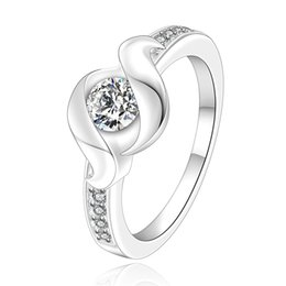 Wholesale Cheap Crystal Pave Jewelry - 925 Silver Plated Jewelry Ring Fine Fashion Inlaid Cubic Zircon Women&Men Finger Ring Cheap Jewelry Gemstone Twist-Wave Crystal Rings