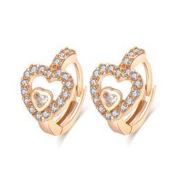 Wholesale Earing Piercing - Pierced Ear Earing Crystal for Women 18K Yellow Gold Plated Hearts Hoop Earrings White Crystal CZ Earing Fashion Jewelry