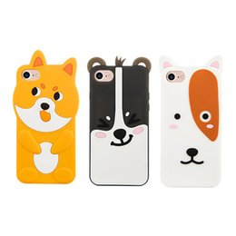 Wholesale Yellow Bear Cases - 3D Puppy Dog Bear Decorative Silicone Case For iPhone 7 Plus 6 6S Plus Cartoon Cute Soft Protective Skin Cover Drop Shipping