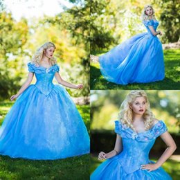 Wholesale Light Blue Gothic Dress - Off Shoulder Prom Dresses Beaded Applique Ball Gown Party Dress Floor Length Plus Size Gothic Evening Gowns
