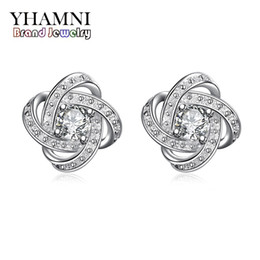 Wholesale Silver Earing Studs - YHAMNI New Fashion Earing For Girl Pure Solid 925 Silver CZ Diamond Crystal Wedding Jewelry Charm Earing SE029