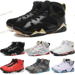 Wholesale Silver Fur Boots - Retro 7 Leather Basketball Shoes Men 2017 North blue Mulberry GS Fuchsia Glow N7 Boots Sneakers Cheap Sports Shoes Free Shipping 41-47