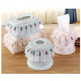 Wholesale Lace Tissue Box Covers - Wholesale- New Arrival High Quality green beige European rural Lace Flower fabric Bow Towel Pumping Tissue Cover Napkin Box Retail ALA044