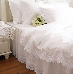 Wholesale Queen Satin Bedspreads - Wholesale-Fashion European bedding set white satin hollow out embroidery bedding duvet cover cotton elegant bedspread lace pillowcase