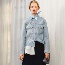 Wholesale Tie Denim Jacket - Brand fashion women's high-end luxury light blue collar red scarf tied denim jacket coats