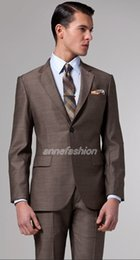 Wholesale Italian Wool Men Suit - Wholesale- Free shipping Italian high quality worsted pure Wool suit Men Business suit Two Buttons Brown Suit