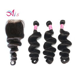 Wholesale Hair Weave Style Natural Wave - New Style Grade 7A Brazilian Indian Malaysian Peruvian Human Hair 3Bundles Loose Wave Hair Weave with a Free Middle part Lace Closure