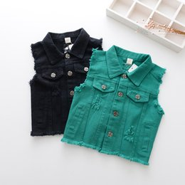 Wholesale Denim Waistcoat Girls - Girls Denim Waistcoat Kids Clothing 2017 Autumn Tassels Hole Vest Europe and America Fashion Coat HX-363