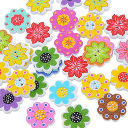 Wholesale Natural Wooden Buttons - 50PCs Wholesale Natural Wooden Buttons Colorful Mixed Flowers Wave Edge Scrapbook Sewing Accessories DIY Craft 2 Holes 20x19mm