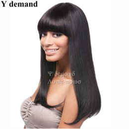 Wholesale Wig Chocolate - Fashion Sexy Long Straight Haircuts Dark Chocolate Natural Synthetic Wigs Cosplay For Women Full Wigs Celebrity Wig Wholesale