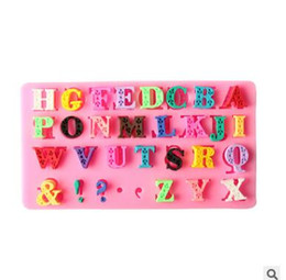 Wholesale Alphabet Silicone Mould - 3D Alphabet Letter Silicone Fondant Mold Cake Chocolate Sugarcraft Cutter Mould DIY Handmade Kitchen Baking Tools Liquid Silicone Mold 457