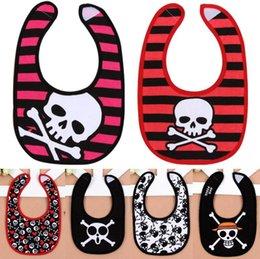 Wholesale Skull Baby Bibs - Baby Bibs Infant Skull Burping Cloths Kids Burp Cloths Childrens Baby Bib Newborn Baby Clothes Free Shipping