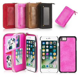 Wholesale Iphone5 Case Silicone Card - Functional phone bag for Apple iphone5 5s 5se 6 6s 6Plus 6sPlus 7 7Plus phone cases with 9 card slot wallet bag for phone