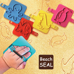 Wholesale Pattern Stamp Tool - Wholesale- 4pcs BEACH SEAL Children Beach Toy Play Sand Stamp Tool Print Various Patterns Gift for Kids Outdoor For Fun 2017 Creative Toy