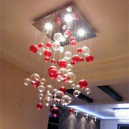 Wholesale Glass Pendant Lamp Red - Indoor Pendant Light Red Bubble Pendant Lamp Glass Chandelier Sitting Room Light Dining-room Lamp Study Bedroom Lamps Kitchen Light lamp