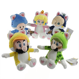 "Wholesale Super Mario Toad Plush - New Hot 5 Styles 7.5""-9.5"" Super Mario Bros Plush Doll Cat Mario Luigi Toad Peach Rosalina Dolls Kid's Gifts Stuffed Soft Toys"