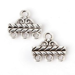 Wholesale Steel Connection - 200pcs Zinc Alloy Charms Antique Silver Plated Three Holes Connection Head Jewelry Findings Accessories Fit Jewelry DIY 13*14mm