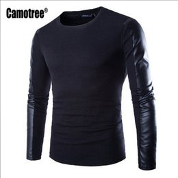 Wholesale Wholesale Men Leather Sweaters - Wholesale- Men Pullover 2017 New Arrival PU Leather Patchwork Sleeve Thin Sweater O-neck Men's Long Sleeve Sweater For Men