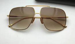Wholesale len cases - Men Designer Square Sunglasses gold brown Gradient len Fashion Brand sunglasses eyewear New with case