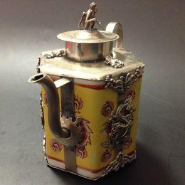 Wholesale Phoenix Porcelain - crafts China's design Decorate unique design antique monkey phoenix tibet silver porcelain teapot;TBW-0019 tools wedding Decoration Brass