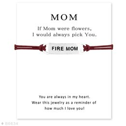 Wholesale Mom Cards - (10 pcs lot)Silver Fire Mom Sports Charm Bracelets & Bangles for Women Girls Adjustable Friendship Statement Jewelry with Card