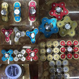 Wholesale Toy Gear Wheels - Brass Handspinner Gadget 2 3 4 5 6 9 GEAR Hand Spinner Fidget Toy Fidget Machine with 9 Wheels Top Finger Gyro Decompression Anxiety Toys