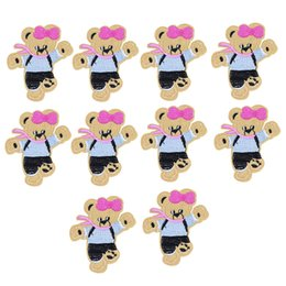 Wholesale Wholesale Bear Patches - 10PCS bear embroidery patches for clothing iron fashion patch for clothes applique sewing accessories stickers on cloth iron on patches DIY