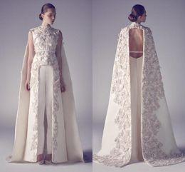 Wholesale Best Club Dresses - 2018 Arabic Evening Dresses Zuhair Murad High Neck Long Prom Gowns Applique Sheath Pageant Split Front Best Formal Evening Dress