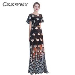 49d712b7d346e CEEWHY Çiçek Desen Resmi Elbise Kılıf Gelinlik Modelleri ile Kısa Kollu  Siyah Akşam Elbise Kemer Vestido de Festa Longo