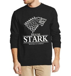 Wholesale House Hoodies - Wholesale-Game of Thrones House Stark Mens Sweatshirts Winter Is Coming printed 2016 autumn winter style man hoodies fashion fleece hooded
