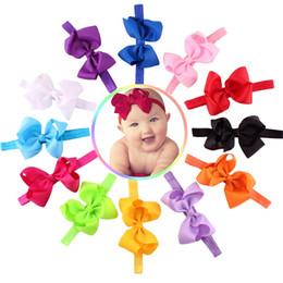 Wholesale Girls Bowties - 2017 Bowties Baby Girl Hairband Newborn Headwear Children Hair Accessories Kids Hairs Clips Pure Color Bandeau Taenia 300pcs lot