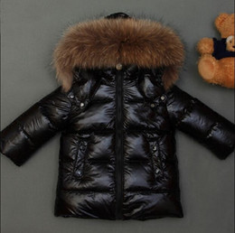 Wholesale Kids White Fur Coat - New 2016 Winter Coats kids Jackets Real Large Raccoon Fur Collar boy's Down & Parka white red shiny, black matte down jackets