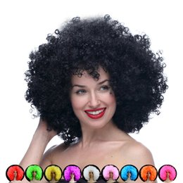 Wholesale Cosplay Perucas - Short Peruke Afro Wigs Top Quality Perucas Cosplay Wig Perruque Oversized Multicolour Peluca Synthetic Halloween Wigs for Party
