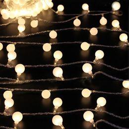 Wholesale Outdoor Lighted Christmas Decor - outdoor 10 meter 80 LED Connectable Festoon globe Ball string light fairy led Christmas Light garland wedding garden party decor