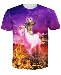 Wholesale Firing Guns - Wholesale-pirate Kitten the Destroyer T-Shirt destroyer cat sword machine gun slung trusty unicorn evil dragons Women Men t shirt fire tee