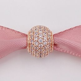 Wholesale coloured roses - 925 Silver Beads Rose Colour Silver Pave Ball Charm with micro pave cz Fits European Pandora Style Jewelry Bracelets 781051CZ Gold Plated