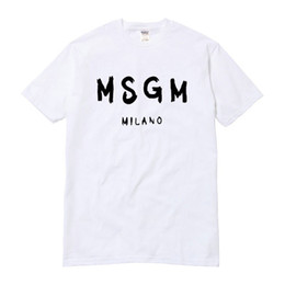 Wholesale Lace Tops Sleeves - Wholesale-High Quality Men Women MSGM T Shirt Summer Couple Brand Letter Printed Tops Tee Casual Cotton Short Sleeve O-Neck Tshirt