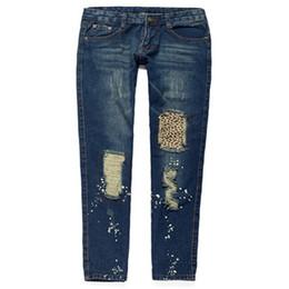 Wholesale Leopard Buttons Wholesale - Wholesale- Fashion Equipment Women Leopard Hole Skinny Pencil Pants Fashion Revers Snowflake Jeans 7081