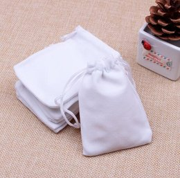 Wholesale Free Gift Packs - 50pcs lot Velvet Bags 7X9cm Pouches Jewelry Packing Bags white Christmas Candy Wedding Gift Bags Free Shipping
